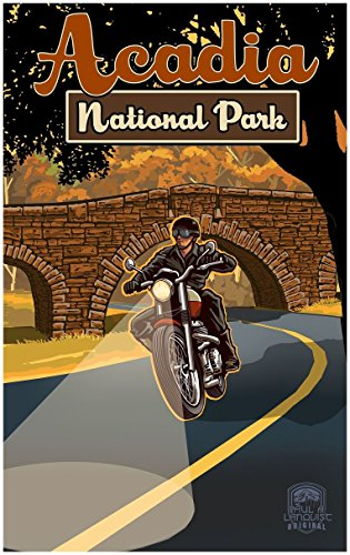 Acadia National Park Maine Motorcycle Travel Art Print Poster by Paul A. Lanquist (30