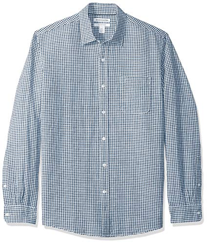 Amazon Essentials Men's Regular-Fit Long-Sleeve Gingham Linen Shirt, Navy, -