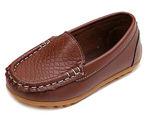 Sport Shoe Brown Flat (DADAWEN Boy's Girl's Soft Synthetic Leather Loafers Slip On Boat Dress Shoes/Sneakers/Flats Brown US Size 6 M Toddler)