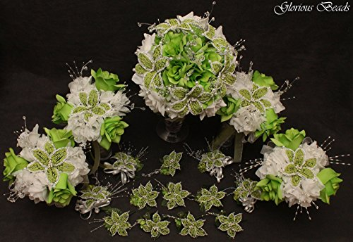 (Lime Green Beaded Lily Wedding Flower 17 piece set with Lime and White Roses ~ Unique French beaded flowers and beaded sprays. Includes Bouquets Corsages and Boutonnieres)