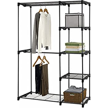 Iuhome Double Rod Freestanding Closet Organizer, Silver