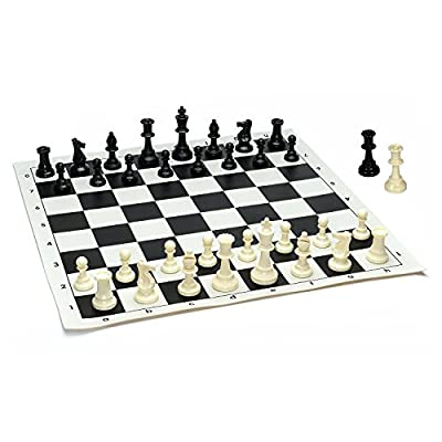 Kimaro Heavy Tournament Best Value Tournament Chess Set - Filled Chess Pieces and Black Roll-Up Vinyl Chess Board
