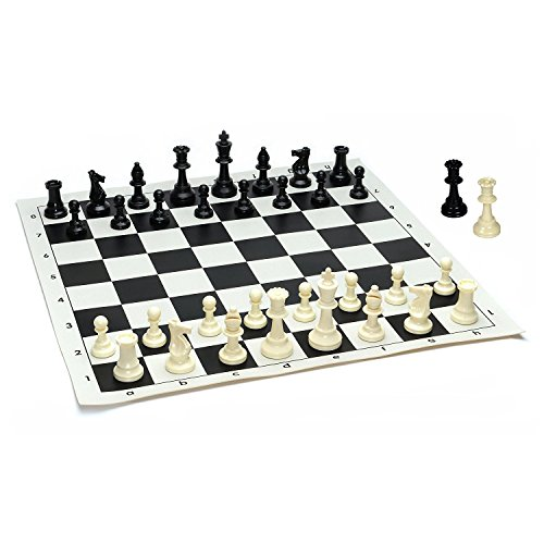 Value Vinyl (Kimaro Best Value Tournament Chess Set - Plastic Filled Chess Pieces and Back Roll-up Vinyl Chess Board)