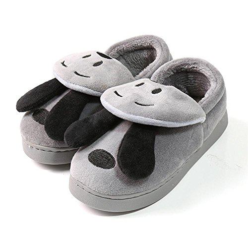 Dog Leather House (Kosbon Baby Toddler Soft-sole Anti-slip Winter Thickened Snow Slippers Boots , Cute 3D Dog Shape Kid's House Slipper Shoes Boot. (7.1 inches(18cm fits 4-6years), Grey Dog))