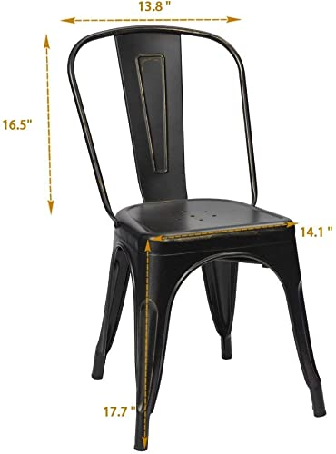 Furmax Metal Chairs Indoor/Outdoor Use Stackable Chic Dining Bistro Cafe Side Chairs Set of 4 Gold Black