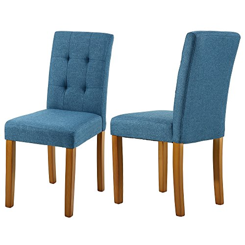 LSSBOUGHT Upholstered Dining Chair Parson Dining Chair with Solid Wood Legs, Set of 2 (Blue)