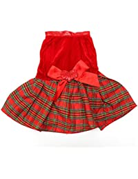 Gain Bargain World Pet Dog Cat Bowknot Heart Red Plaid Party Clothes Dress Skirt offer