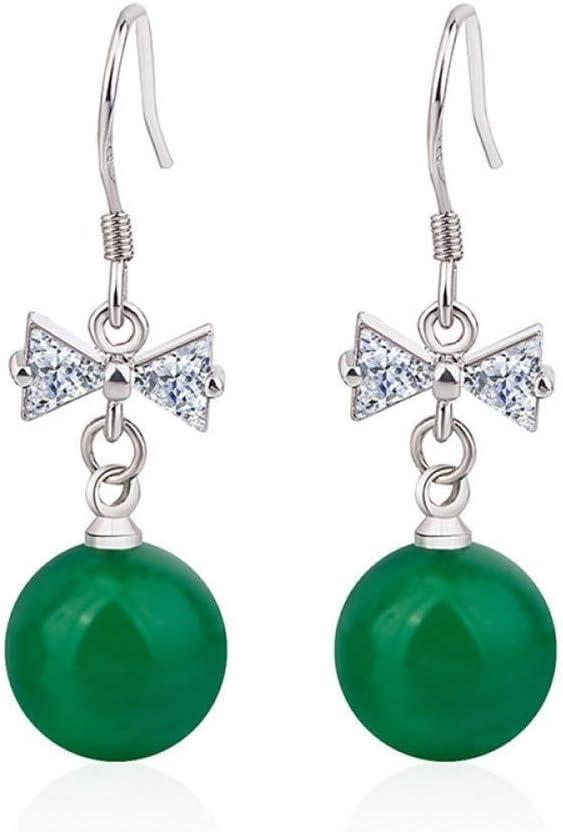 WSNM Calcedonia Verde Natural con Pendiente de Diamante de Plata 925 joyería de Jade del Color Piedra Preciosa del Topaz del Granate Pendiente de Gota de Las Mujeres