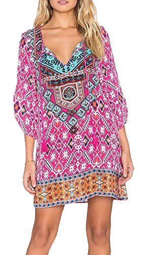 [Women Bohemian Neck Tie Floral Print Ethnic Style Shift Dress (Medium, Pattern 15)] (Hippie Dress)