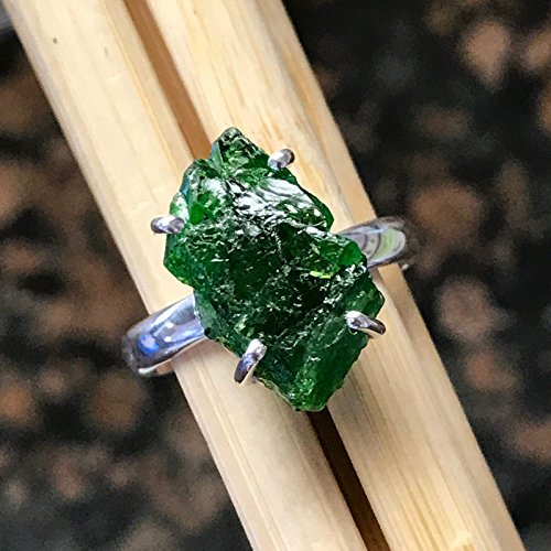 Natural Chrome Diopside, Raw Chrome Diopside, Russian Diopside, Green Diopside 925 Sterling Silver Cluster Ring sz 7.5