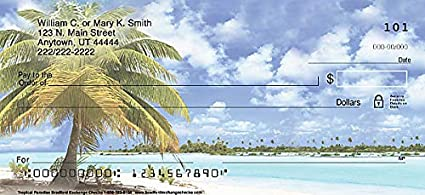 1 Box Checks Personal Singles // 120 Checks The Bradford Exchange Personal Checks Tropical Paradise Top Tear Printed Personal Checks with Calming Oceans and Sandy Beaches 4 Scenes