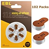 EBL Size 312 PR41 Hearing Aid Batteries 102 Pack 1.45V Zinc-Air Battery …