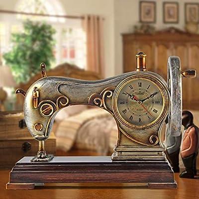 Li-lamp Reloj de Mesa, Reloj de Escritorio Europeo, Máquina de Coser Niños creativos Reloj de Cuarzo Modernclock Bed Mute Art Decor Time Clock Mirror: Amazon.es: Hogar