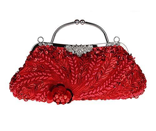 Women For Party Clutch Prom Handbag Cheongsam Red Beaded Evening Bag Sequin Handmade Wedding qqrCH8