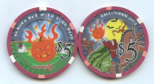 $5 Riviera Halloween 2003 Headless Horseman Flaming Pumpkin Old Obsolete Las Vegas Nevada Casino Chip Uncirculated Collectors Condition Chip Real Live chip ()