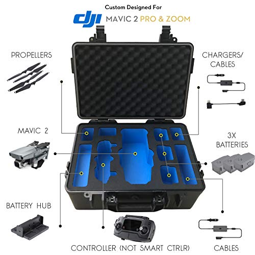 DJI Mavic Pro 2 Case - Waterproof IP67 Rated Carrying Case with Precision Machined Black and Blue EVA Foam Insert. Rugged ABS Hardshell - with Shoulder Strap - Does Not Accommodate Smart Controller