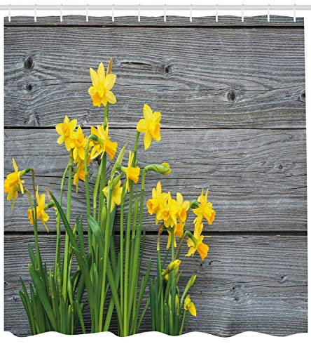 Ambesonne Yellow Flower Shower Curtain, Bouquet Daffodils on Wood Planks Gardening Rustic Country Life Theme, Fabric Bathroom Decor Set Hooks, 84 inches Extra Long, Yellow Grey ()