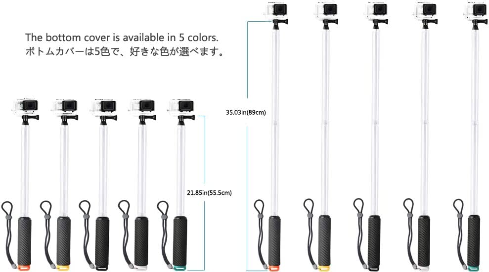 Transparent Floating Extension Pole Extendable Selfie Stick for GoPro Series /& Other Sports Camera Series Black 55.5or89cm Snail Shop PC Material Float 21.85or35.03in