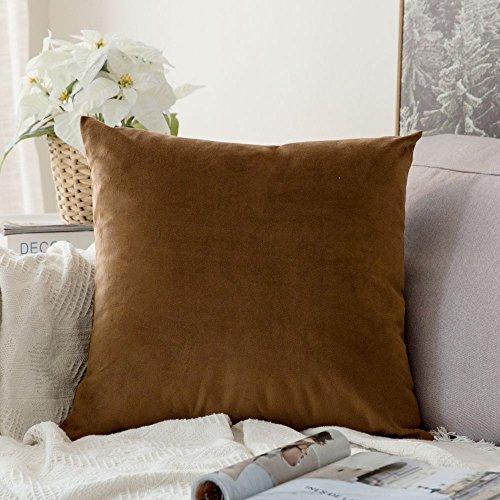 MIULEE Velvet Pillow Covers Decorative Square Pillowcase Soft Soild Chocolate Cushion Case for Sofa Bedroom Car 22 x 22 Inch 55 x 55 cm Decorative Pillow 15x22' Bedding