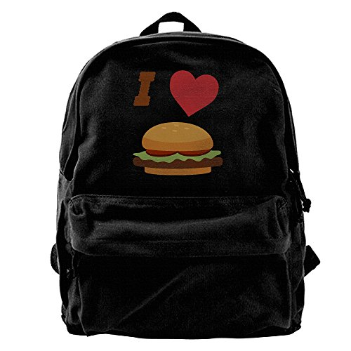(I LOVE BURGER Unisex Vintage Canvas Backpack Travel Rucksack Laptop Bag Daypack)