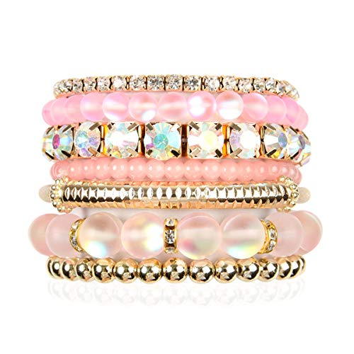 - RIAH FASHION Multi Color Stretch Beaded Stackable Bracelets - Layering Bead Strand Statement Bangles (Mermaid Glass - Pink, 7)