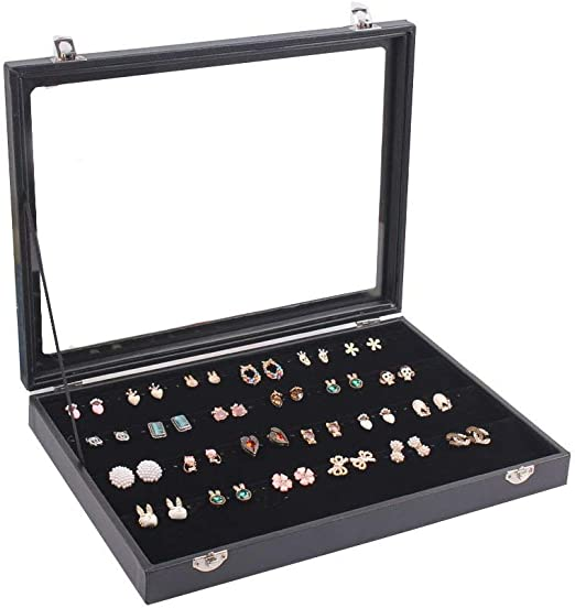 JackCubeDesign 40 Compartments Stackable Leather Jewelry Tray Earring Necklace Bracelet Ring Organizer Display Storage Box -MK212-1A Set of 1, Black, 16 x 9.6 x 1.6 inches