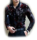 Herina, Men's Dress Shirt Shirt Slim Fit Long Sleeve, Velvet & See through. (L, Red 2)