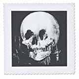 3dRose All Is Vanity - ghost, halloween, optical illusion, paranormal, seasonal, silhouette, skeleton - Quilt Square, 10 by 10-inch (qs_46711_1)