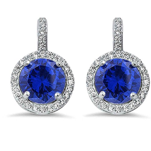 Engagement Simulated Earring - Halo Bridal Wedding Engagement Leverback Earrings Simulated Blue Tanzanite Round CZ 925 Sterling Silver