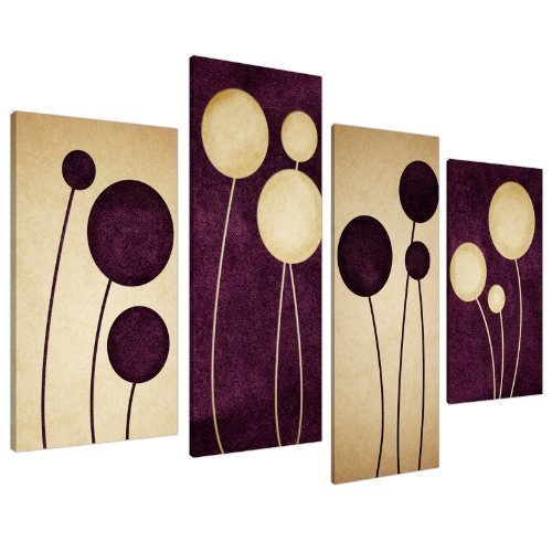 "Purple Plum Decor Canvas Wall Art Pictures - Set of 4 - Abstract Artwork - Split Canvases - Multi Panel - XL - 130cm / 51"" Wide - Ready to Hang"