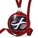 Christmas Decoration Friendship Flags USA and Tenerife region Spain Ornament