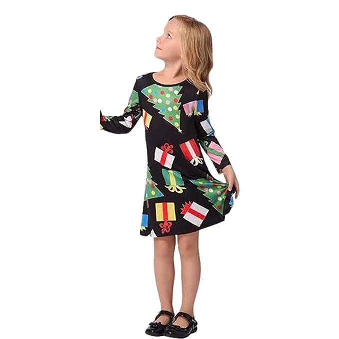 376865d45387 feiXIANG Vestito da Principessa delle Feste Vestito Stampa Albero di Natale  Pupazzo e Fiocco di Neve