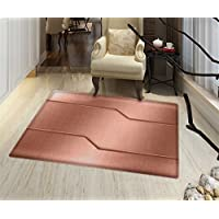 Copper Bath Mats Carpet Realistic Look Plate Bar Image Technology Inspired with Steel Surface Industry Print Floor mat Bath Mat for tub 32x48 Rose Gold