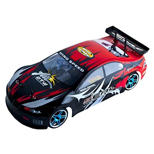 Remote Gas Car Control Nitro (ALEKO 1083U 4WD Nitro Powered High Speed Vertex 18 CXP On Road Racing Car, Red 1/10 Scale)