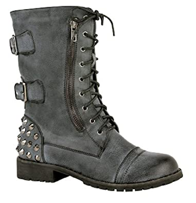 Women's Black Distressed Faux Leather Mid Calf Studded Buckle Boots