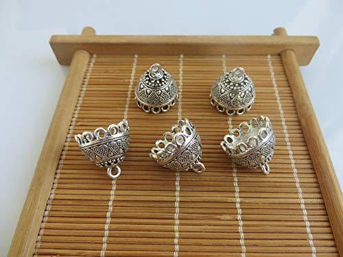(FidgetFidget 10pcs Antique Silver Bell Shape End Caps Beads Tassels Charms Pendants)