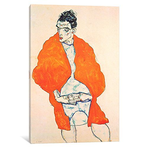 iCanvasART 1-Piece Self-Portrait 'Man in Orange Jacket' Canvas Print by Egon Schiele, 0.75 by 26 by (Egon Schiele Self Portrait)