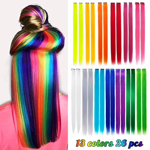 26 Pack Colored Party Highlights Clip in Hair Extensions for Girls 20 inches Multi-colors Straight Hair Synthetic Hairpieces In The Party(13colored)