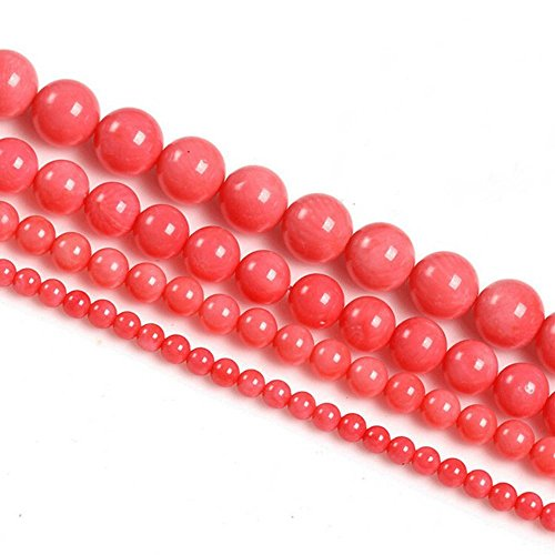JarTc Natural Coral Stone Round Loose Beads For jewelry Making DIY Bracelet Necklace Strand 15.5'' (4mm, Pink)