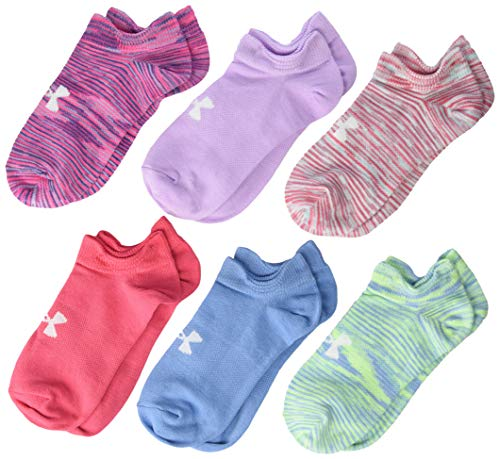 Under Armour Youth Essential No Show Socks, 6-Pair, Mojo Pink Assorted, 13.5K-4Y (Under Armour For Kids)