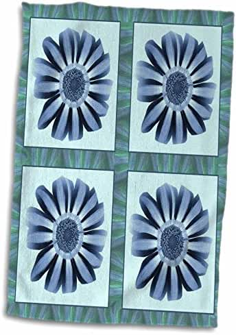 3dRose Jaclinart Garden Flowers Floral Daisies Stripes Petals - Four baby blue and navy striped flowers with blue and green flower petal border - 15x22 Hand Towel (twl_31654_1)