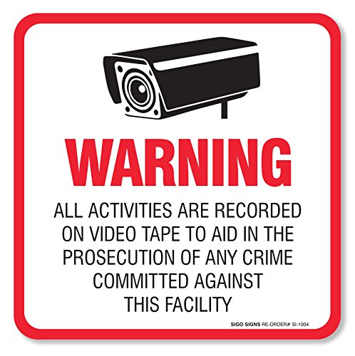 Warning Video Surveillance Decal Adhesive