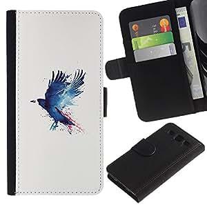 YiPhone /// Tirón de la caja Cartera de cuero con ranuras para tarjetas - Cuervo Cuervo Pintura - Samsung Galaxy S3 III I9300