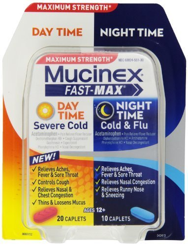 Mucinex Fast-Max Adult Day and Night Caplets, 30 Count by Mucinex - Day 30 Caplets