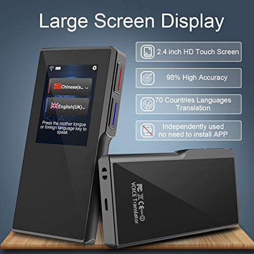 Birgus Smart Voice Translator Device with 2.4 Inch High Definition Touch Screen Support 70 Languages for Travelling Abroad Learning Shopping Business Chat Recording Translations by Birgus (Image #1)