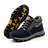 Fashion Labor Security Shoes,Breathable Warm Anti-Smash Anti-Thorn Anti-Static high Tops,Industrial Construction Men and Women Work Safety Shoes,Normal,42