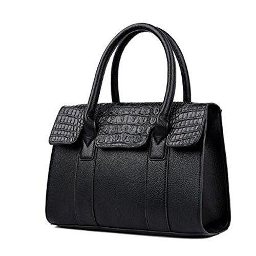 Señoras Vintage Bolsos De Cocodrilo Pu Bolsa De Hombro De Cuero Bolso De La Taleguilla Para Las Mujeres Black