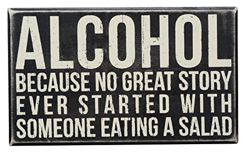 Primitives by Kathy Wood Box Sign, 10-Inch by 6-Inch, Alcohol (Accessories Bar)