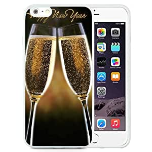 Unique and Attractive TPU Cell Phone Case Design with Happy New Year Champagne iPhone 6 plus 4.7 inch Wallpaper in White