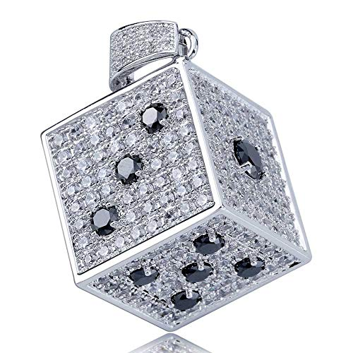 TOPGRILLZ 14K Gold Plated Iced Out CZ Simulated Diamond 3D Crap Dice Pendant Necklace for Men Fashion Jewelry (Silver Crap) 3d Diamond Pendant Necklace